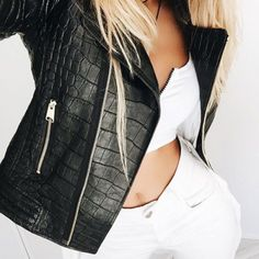 Great croc-print leather jacket