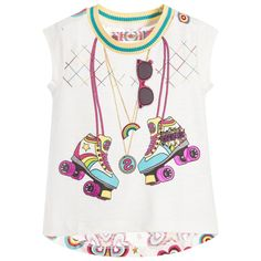 Girls ivory capped-sleeve t-shirt by Desigual. Made from soft slub cotton jersey with a yellow and blue ribbed neckline. The front has a colourful and sparkly roller skate print, with appliquéd sun glasses, sequin logo and embroidered patterns. The back has a longer length hem, with glittery stars and a hearts and circular pattern.