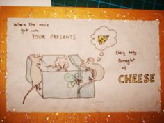 mice in your presents xmas card design Homemade Christmas, Xmas Cards, Mice, Presents, Snoopy, Character, Design, Christmas E Cards, Gifts