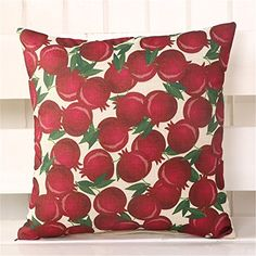 18 Classic Flower Fruit Linen Cotton Cushion Cover Waist Throw Pillowcase Home Sofa Decor Red pomegranate * Check this awesome product by going to the link at the image. Note: It's an affiliate link to Amazon