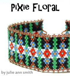 Julie Ann Smith Designs PIXIE FLORAL Odd Count Peyote Bracelet Beadweaving Pattern
