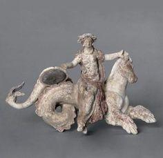 "berndblacha: "" Hippocampus and Nereid carrying the shield of Achilles, Terracotta 323 B. Ancient Greek Art, Ancient Greece, Ancient History, Art History, Roman Sculpture, Lion Sculpture, Greek Animals, Sculpture Romaine, Greek Antiquity"