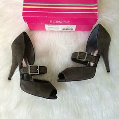 BCBGirls Buckle Heels, Grey Suede Cute heels by BCBG...dark grey suede. Only worn twice, true to size. Box included. BCBGirls Shoes Heels