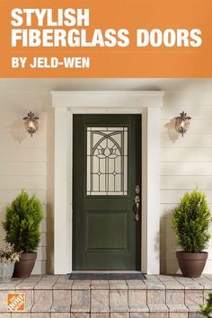 Get the look of wood for less with light grain detailed stains for both interior and exterior doors. Modern and stylish, the Jeld-Wen door is designed with craftsman style, made from eco-friendly wood fibers and non-rot jambs that ensure longevity. Exterior Doors, Entry Doors, Wood Doors, Interior And Exterior, Exterior Fiberglass Doors, Patio Doors, Interior Shutters, Front Door Design, Front Door Colors