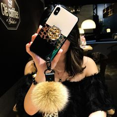Leopard Airbag Bracket Case with Plush Ball For iPhone Girly Phone Cases, Iphone Phone Cases, Mobile Phone Cases, Smartphone Covers, Laptop Covers, Popsockets Phones, Modelos Iphone, Red Bottom Heels, Iphone Price