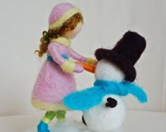 Waldorf inspired needle felted girl with snowman