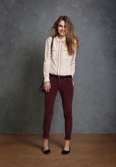 Dark Red Skinny Jeans + Polka Dots Blouse + Black High Heels Jack Wills Autumn Look Book