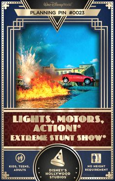 Walt Disney World Planning Pins: Fall under the spell of film professionals as they perform high-octane stunts while revealing special effects secrets.