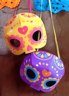 mask craft day of the dead dia de los muertos printable party fiesta kit 3D