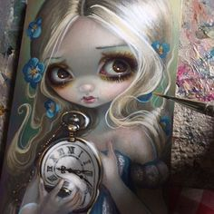 """Work-in-progress of """"Keeping Up"""" - another illustration for my Alice in Wonderland oracle deck! Just a few cards left =) This is for Card #40 (entitled """"Keeping Up"""") which discusses the ambiguity of time and keeping up when things are being hard to keep up with, etc. - so I have Alice holding a clock that is warping beyond control and reality (a la Dali).#strangeling #jasminebecketgriffith #aliceinwonderland #alice #clock #pocketwatch #surreal #surrealism #wonderland #painting #fantasyart…"""