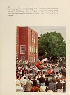 Athena Yearbook, 1957. A parade, possibly Homecoming 1956, comes down S. College Street. :: Ohio University Archives