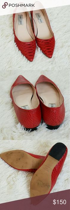 PRE-OWNED JIMMY CHOO Animal Print Flat Shoes Shoes are red in color and in great condition. Shoes have been worn a few times, very minimal to no wear. No stains or defects. These shoes are UK 36 and is made in Italy. Jimmy Choo Shoes Flats & Loafers