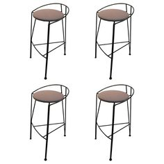 Set of Four Postmodern Pascal Mourgue Barstools | From a unique collection of antique and modern stools at https://www.1stdibs.com/furniture/seating/stools/