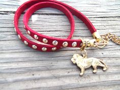 Red Faux Suede Wrap Bracelet, Gold Rivets, Charm Wrap Bracelet, Lion Jewelry, Cecile The Lion Jewelry, Vegan, Eco-Friendly Jewelry by TerriJeansAdornments on Etsy