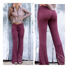 • Boho Pants • Say goodbye to yoga pants and meet these gorgeous silky knit wine color bell bottoms! 60% cotton, 35% polyester, 5% spandex. Lace up drawstrings with tassels. True to size. Model is 5'6 wearing size Small. High Quality Australian brand. PLEASE DO NOT PURCHASE THIS LISTING. Comment your size below and I'll make a new listing for you. Thank you! POL Pants Boot Cut & Flare