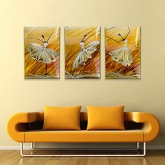 Realizat manual, din metal, format din 3 bucati, cadru din lemn, fiecare tablou este unic.  L x l: 60 x 60 cm Yellow Sofa, Yellow Walls, Yellow Wall Art, Balerina, Living Room Pictures, Metal Art, Unic, Modern, Painting