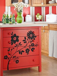 painting ideas to make craigslisted/reclaimed dressers & bookshelves look unified.