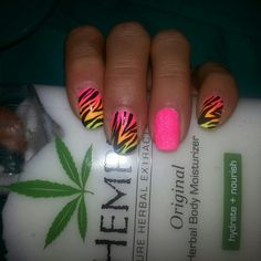 Another one of my old favorites!  #zebra #zebraprint #pink #orange #yellow #glitter #nails #nailart #pretty #love