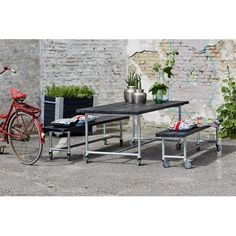 Plus Urban Picnic Plankesæt 207cm bord/bænkesæt m/hjul sort 185950-15
