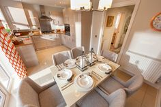 Dining room inspiration   Show home style   Lovell Homes Canton House, Dining Room Inspiration, Cardiff, New Builds, Building A House, Table Settings, House Ideas, New Homes, House Styles