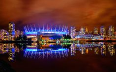 Another view of Ciro's favorite angle of Vancouver's skyline. On the right of the stadium we also see the second stadium, Rogers Arena. This is where the Vancouver Canucks play. Ciro takes you all to a playoff game and when folks seem confused he explains that Hockey is Canada's NFL.