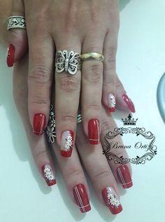 Red has it Long Nail Art, Long Nails, Great Nails, Fabulous Nails, Pedicure Designs, Nail Art Designs, Finger, Flower Nails, Matte Nails