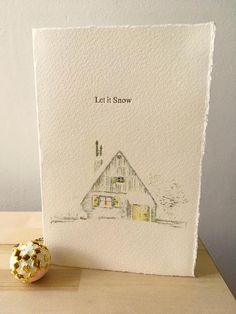 A vintage inspired card with a snowy winter scene combined with letterpress type. This card is handprinted on 250gsm soft white paper with gold ink, using our beloved Adana letterpress. All our cards are designed and printed in our studio in Yorkshire, England, combining the finest quality