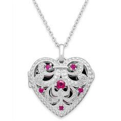Ruby (1/3 ct. t.w.) and Diamond Accent Heart Pendant Necklace in... ($329) ❤ liked on Polyvore