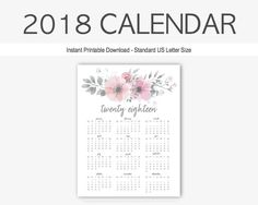 2018 Monthly Calendar: Yearly Calendar, Home Management, Calendar, Printable, Goal Setting, Year at a Glance, 2018 Planner, Twenty Eighteen by TherapyJournals on Etsy
