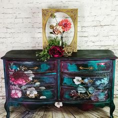 Just look at this beauty by the thefarmgypsy The mixture of colors and the Imperial Garden Decor Transfer are the perfect combination Funky Painted Furniture, Decoupage Furniture, Refurbished Furniture, Paint Furniture, Repurposed Furniture, Unique Furniture, Shabby Chic Furniture, Furniture Decor, Furniture Removal