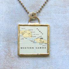 Western Samoa Map Pendant Necklace by XOHandworks