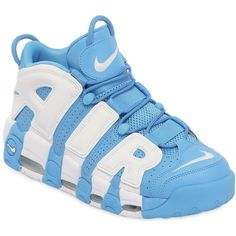 Nike Men Air More Uptempo '96 Leather Sneakers (676.720 COP) ❤ liked on Polyvore featuring men's fashion, men's shoes, men's sneakers, mens leather sneakers, nike mens shoes, mens shoes, mens sneakers and mens leather shoes