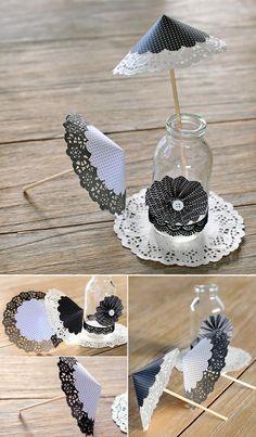 #DIY Bodas : 5 ideas para decorar con blondas en blanco y negro. Sombrillas decorativas.
