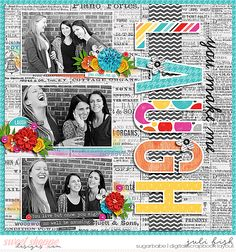 Laugh Digital Scrapbook Layout by Juli Fish. Credits - Laughter digital kit by Heather Roselli at www.sweetshoppedesigns.com  #digitalscrapbook #ssd News print, large title, flower clusters, three photos, black and white photos, paint, teens, word strips