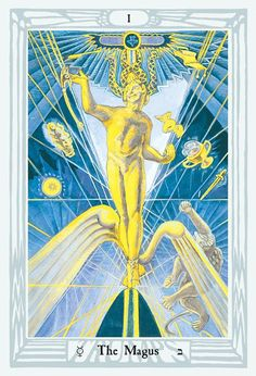 The cards were painted by Lady Frieda Harris according to instructions from the occult scholar, Aleister Crowley. The magnificent art deco work contains kabalistic and astrological attributions described in Aleister Crowley's Book of Thoth. The stunning art deco artwork of the Thoth is rich in Egyptian symbolism. To each of the twenty-two Major Trumps of the tarot is assigned, by tradition, a Hebrew letter and a path on the Tree of Life, as well as an astrological sign, element, or planet… Tarot Card Decks, Tarot Cards, Wiccan, Magick, Witchcraft, Hermetic Tarot, Art Deco Artwork, Rider Waite Tarot, Astrology Signs