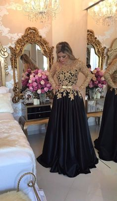 Long Sleeves Black Satin Prom Dress with Gold Appliques