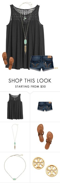 """ewwwww new update"" by secfashion13 ❤ liked on Polyvore featuring H&M, Hollister Co., Kendra Scott and Tory Burch"