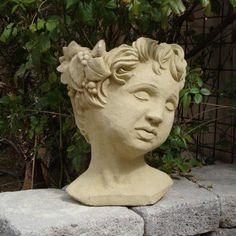 Designer Stone Cherub Head Planter