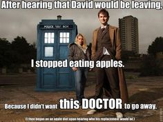 Uh, yes, 5 stars.  Apples r against the doctor.  No more apples.  The 10th doctor is supposed to leave, exterminate all apples.... MATT SMITH IS REPLACING DAVID?!?!  NOOOO!!!!!!  *crushes apples*