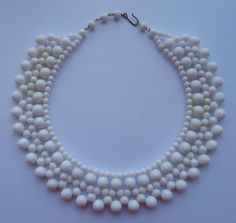 Vintage 1950 s (Approx) White Glass Bead Collar Choker Necklet Necklace Bridal