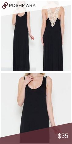 Coming Soon! Black Maxi Dress with Crochet Detail Coming soon! Naturally Spiritual Dresses Maxi