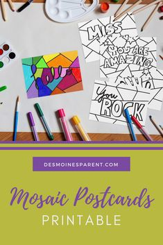 Miss your friends and families? Print off, color and send these fun mosaic postcards to friends and family near and far. These are perfect for all ages! Diy Projects For Kids, Crafts For Kids, Arts And Crafts, Indoor Activities For Kids, Kid Activities, Summer Activities, Writing Paper, Letter Writing, Miss You Friend