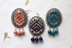 Macrame Brooch with Natural Gemstone / Handwoven Braided Ornament Brooch / Knotted Tribal Gypsy Hippie / Fiber Jewelry / Tapestry / Weaving - pinned by pin4etsy.com