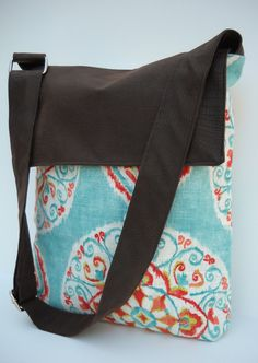 Messenger Bag / Crossbody Bag in Blue and Orange by jazzygeminis, $33.00