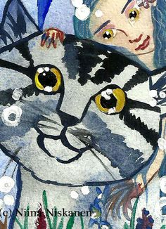 """Listing of my original watercolor painting called """"Golden eyes"""". Showing beautiful golden eye cat with a golden eye fairy friend. Size: x inches (app. x cm) Perfect add to your ACEO collection! Painted with watercolors acrylics an Fantasy Paintings, Watercolor Paintings, Fantasy Art, Watercolor Cat, Trading Card Sleeves, Grey Art, Blue Art, Artist Card, Nursery Art"""