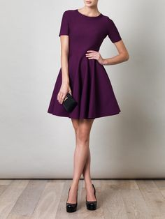 YVES SAINT LAURENT Skater skirt stretch-wool dress $2035 #fashion #style #outfit #dress #purple #plum #style #cocktail #party #outfit #skater
