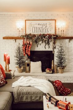 Rustic Christmas Mantel & Cozy Christmas Living Room - A Brick Home by Marly Dice Loving this beautiful Rustic Christmas Mantel with pops of red! Very Merry Christmas, Cozy Christmas, Christmas Movies, Christmas Time, Christmas Garden, Outdoor Christmas, Christmas Christmas, Christmas Stockings, Christmas Ornaments