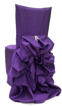 Iridescent Taffeta Eggplant Chair Cover