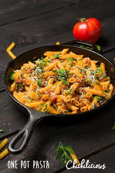 One Pot Pasta Recipe - Chichilicious Pasta Brands, Gluten Free Pastry, Recipe Maker, Vegetarian Appetizers, One Pot Pasta, Penne Pasta, Recipe Boards, Weeknight Meals, Dinner Tonight