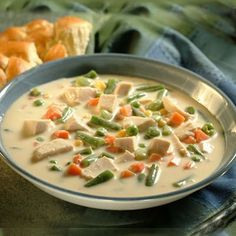 Cream of Chicken and Vegetable Soup - Just made this for dinner and it was fantastic. Chicken Vegtable Soup, Vegetable Soup With Chicken, Vegetable Soup Recipes, Veggie Soup, Chicken And Vegetables, Chicken Recipes, Mixed Vegetables, Cream Of Chicken, Soup And Sandwich
